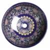 Priori kerámiamosdó, átm:40,5cm, lila díszítéssel