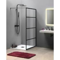 Sapho Cure Black fix zuhanyfal, 1000mm, matt fekete 200cm magas