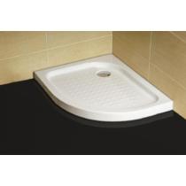 Sanotechnik Íves aszimmetrikus zuhanytálca fix előlappal, balos kivitel, lábbal, szifonnal