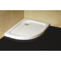 Sanotechnik Íves aszimmetrikus zuhanytálca fix előlappal, jobbos kivitel, lábbal, szifonnal