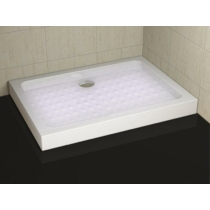 Sanotechnik Aszimmetrikus zuhanytálca fix előlappal, lábbal, szifonnal