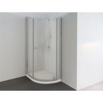 Sanotechnik Íves aszimmetrikus sarokkabin pivot ajtóval (5 mm) 185 cm magas