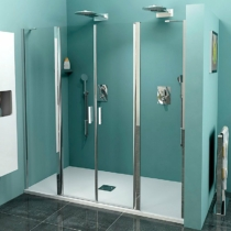 Sapho Polysan Zoom Line duplaszárnyú zuhanyajtó fix részekkel, 1600mm, transzparent, króm