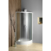Aqualine Arlen íves zuhanykabin, 90x90X185cm, fehér, BRICK üveg (4mm) 185 cm magas