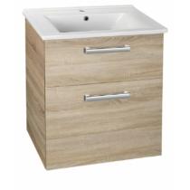 Aqualine Vega mosdótartó szekrény, 2 fiók, 62x72,6x43,8cm, platinatölgy