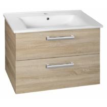 Aqualine Vega mosdótartó szekrény, 2 fiók, 72x57,6x43,8cm, platinatölgy