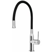 Sili mosogató-csaptelep, szilikon cső, 224/263/475mm, fekete/króm