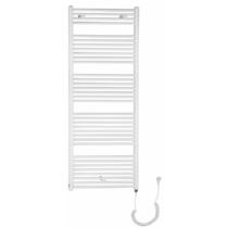 Aqualine elektromos fürdőszobai radiátor fűtőpatronnal, egyenes, 600x1680cm, 800W, fehér
