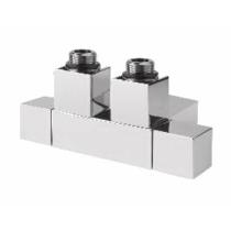 CUBE TWIN csatlakozókészlet radiátorhoz, középső bekötés,50mm, csiszolt inox