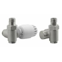 Aqualine ECO COMBI csatlakozókészlet termosztáttal, balos, nikkel/fehér