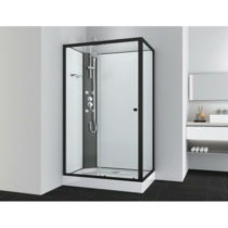 VIVA 1 hidromasszázs zuhanykabin, aszimmetrikus, fekete