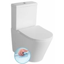 Paco Rimless kombi WC alsó/hátsó kifolyású, Soft Close ülőkével, tartállyal, 38x64cm, duálgombos öblítőmechanikával