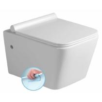 PORTO RIMLESS fali WC, SLIM soft close WC-ülőke, 36x52cm, duroplast, fehér/króm