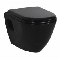 Paula fali WC, 35,5x50cm, fekete, ülőke nélkül