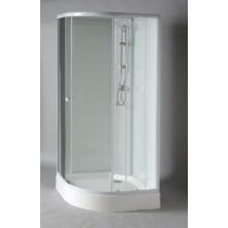 Aqualine Aigo íves zuhanybox, 90x90x206cm, fehér profil, transzparent üveg (5mm) 206 cm magas