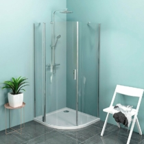 Sapho Polysan Zoom Line íves zuhanykabin, jobbos, 900x900mm, transzparent, króm (6mm) 190 cm magas