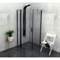 Sapho Polysan Zoom Line Black íves zuhanykabin, balos, 900x900mm, transzparent, fekete (6mm) 200 cm magas