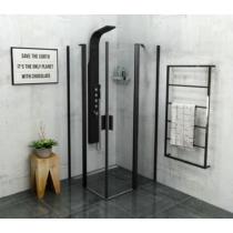 Sapho Polysan Zoom Line Black szögletes zuhanykabin, 900x900 mm, transzparent, fekete (6mm) 190cm magas