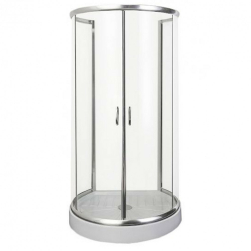 Sanotechnik Falsíkra szerelhető íves zuhanykabin 2 tolóajtóval (5 mm)