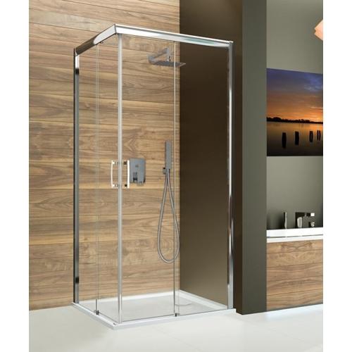 KNL/FREEZONE szögletes tolóajtós aszimmetrikus balos zuhanykabin
