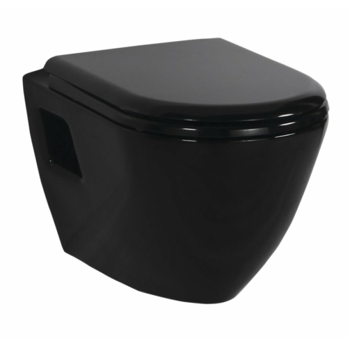 Paula fali WC, fekete, ülőke nélkül