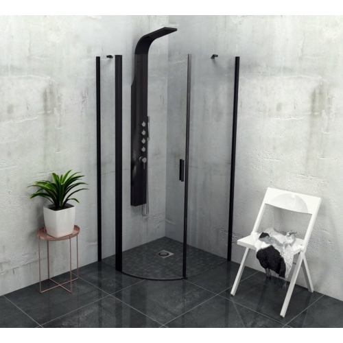 POLYSAN ZOOM LINE BLACK íves zuhanykabin, jobbos, 900x900mm