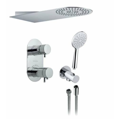 Sapho Rhapsody falba süllyesztett termosztátos csaptelep, 2-irányú váltóval, zuhanyszettel, króm